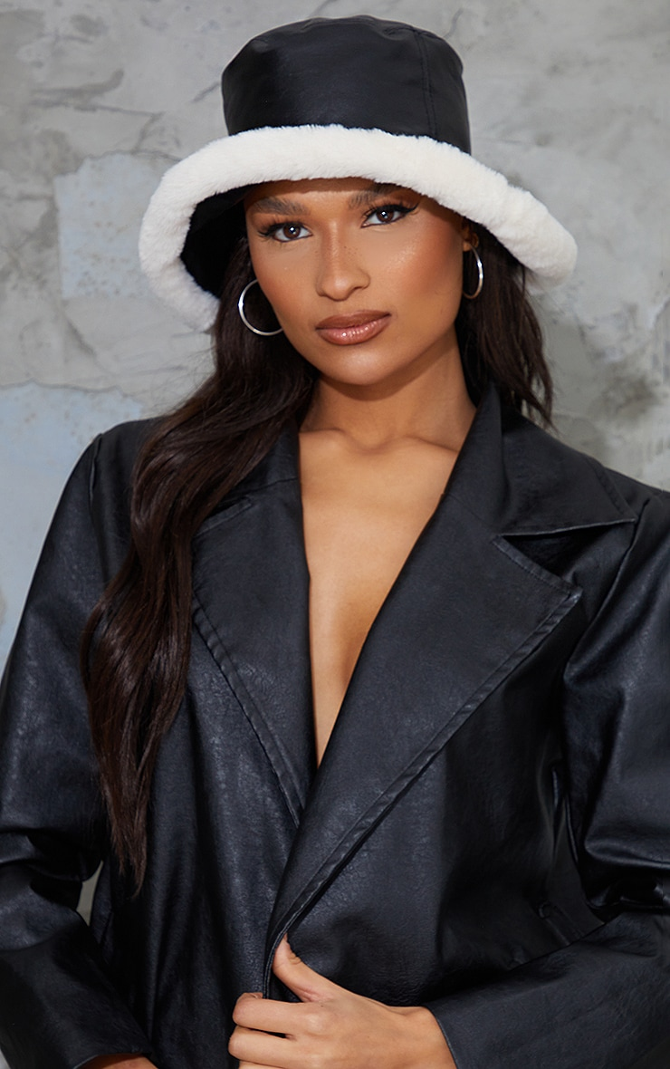 Black PU Faux Fur Trim Bucket Hat 1