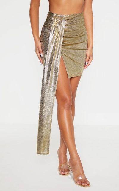 Gold Textured Glitter Ruched Front Tie Mini Skirt