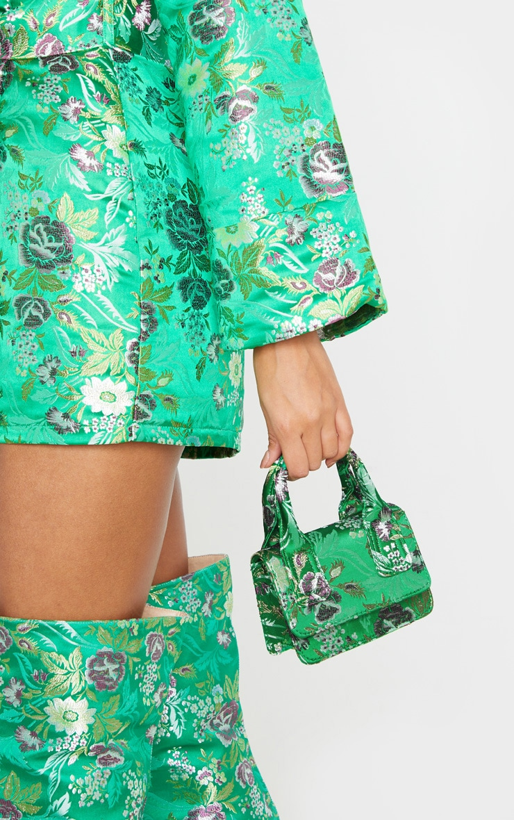 Green Jacquard Mini Square Handle Bag 3