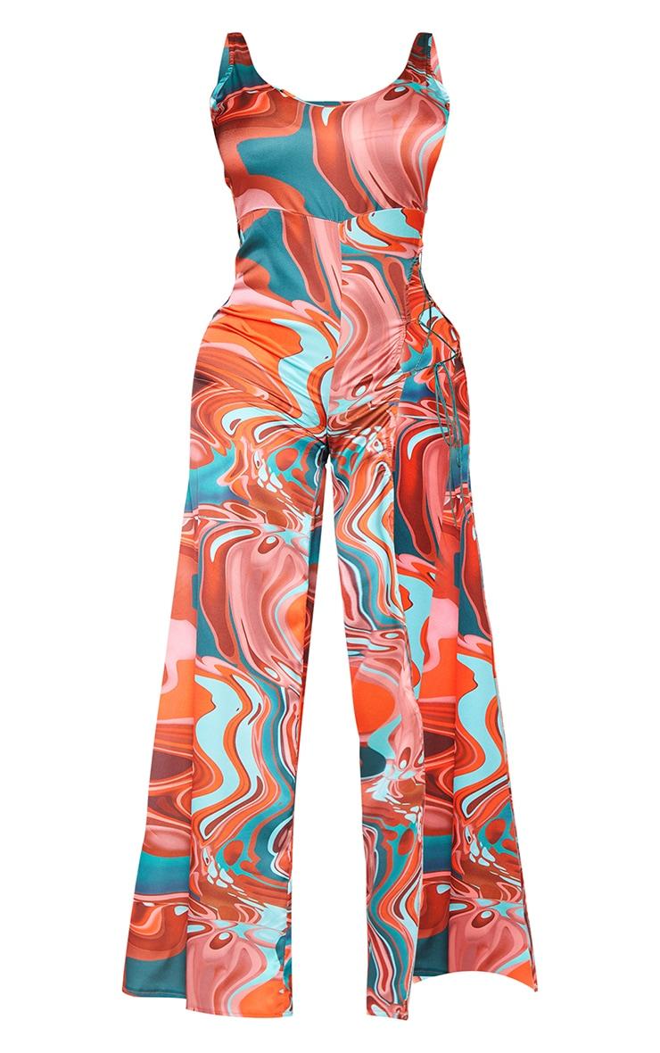 Shape Brown Marble Print Satin Lace Up Detail Wide Leg Jumpsuit 5