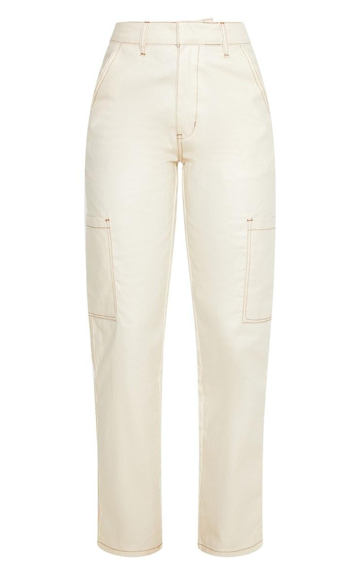 Stone PU Contrast Stitch Pocket Detail Jeans 5
