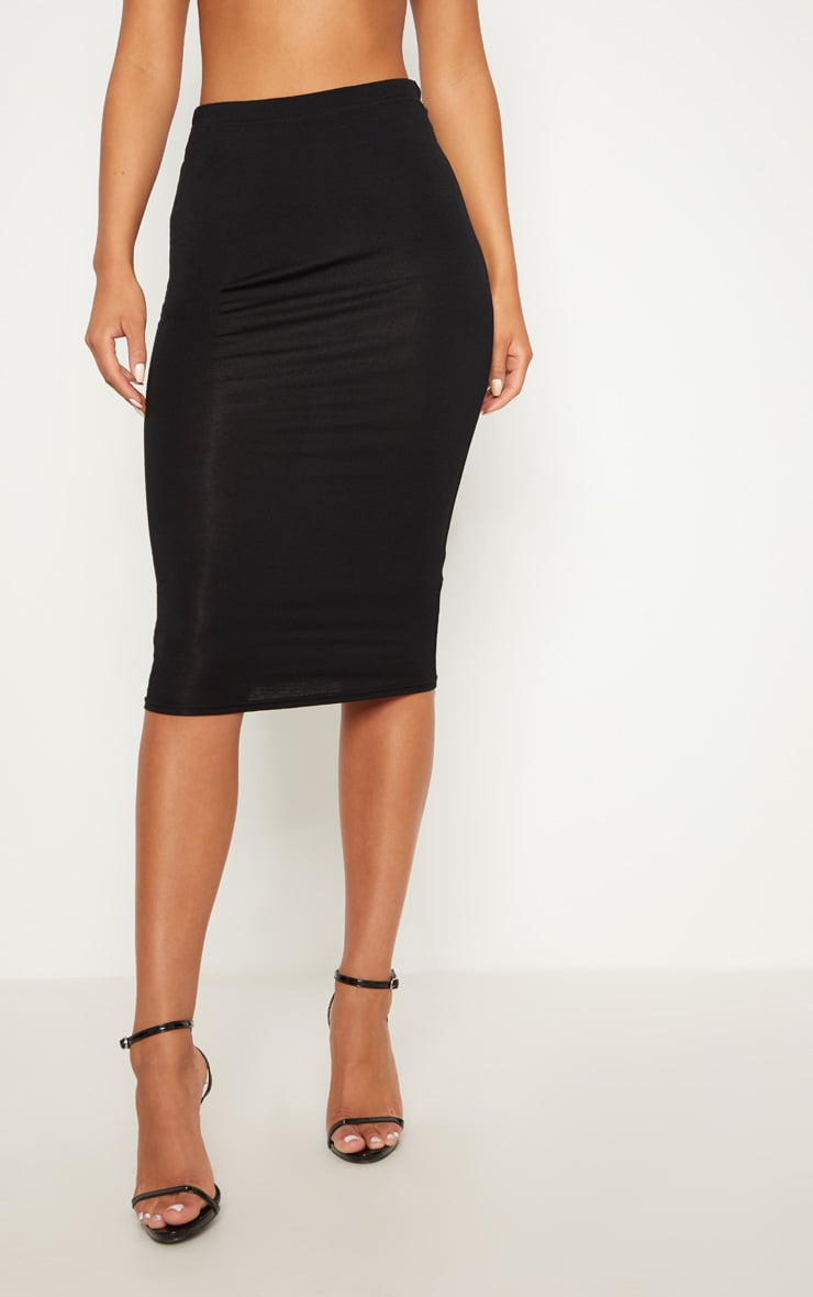 Basic Black Midi Skirt 2