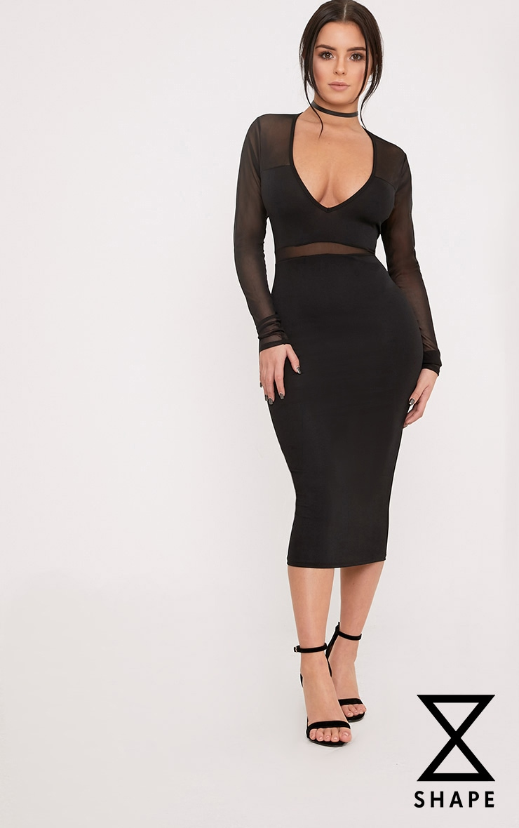 Shape Siennah Black Crepe Panel Midi Bodycon Dress  1