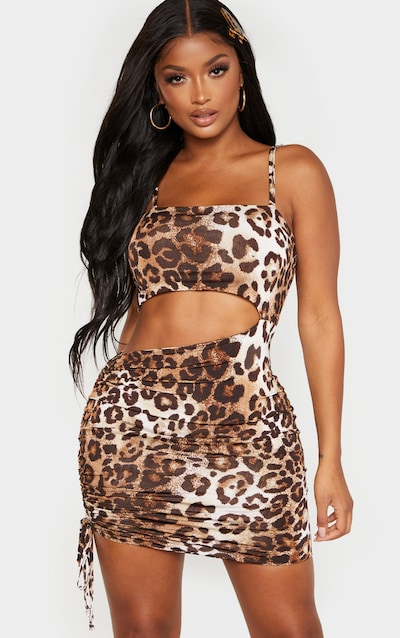 Shape Brown Leopard Print Slinky Cut Out Side Ruched Bodycon Dress
