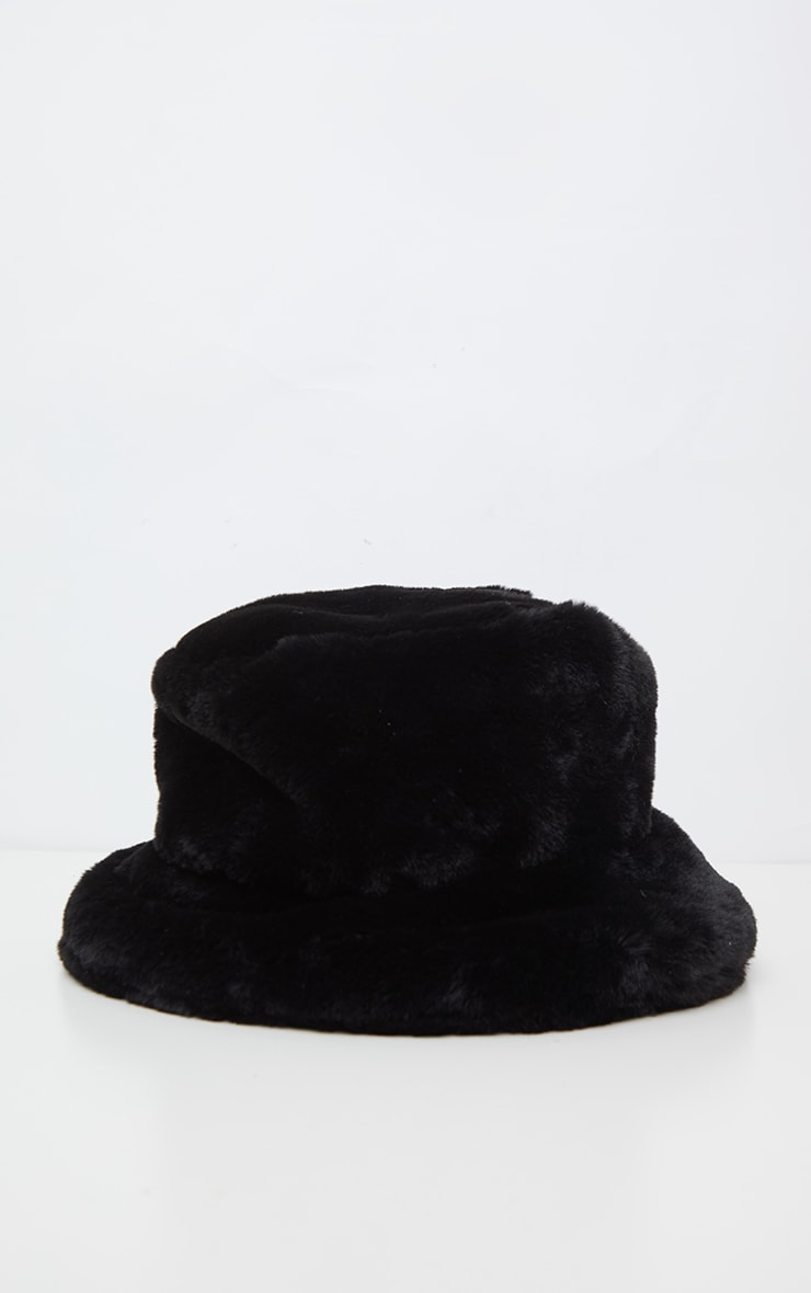 Black Faux Fur Bucket Hat 2