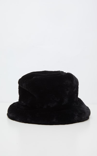 Black Faux Fur Bucket Hat