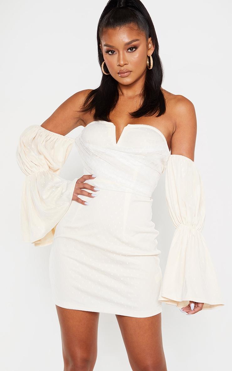 Stone Dobby Mesh Bardot Puff Sleeve Bodycon Dress 1