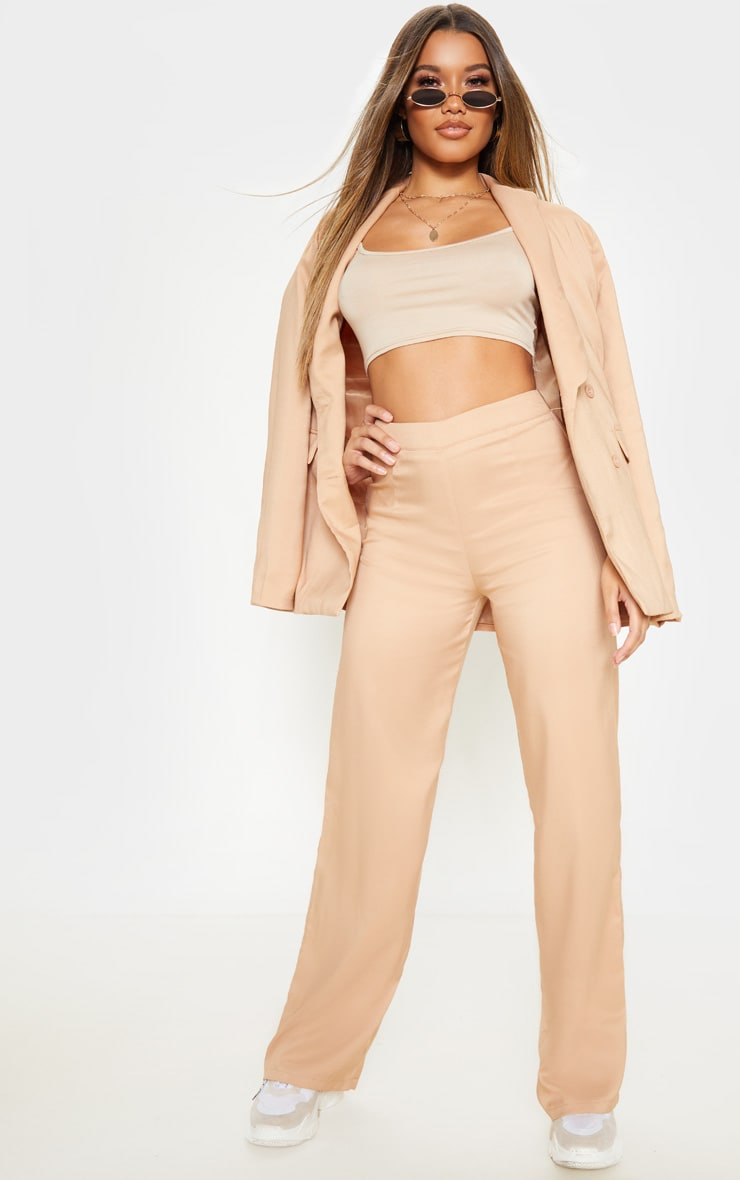 Beige Wide Leg Suit Trouser 1