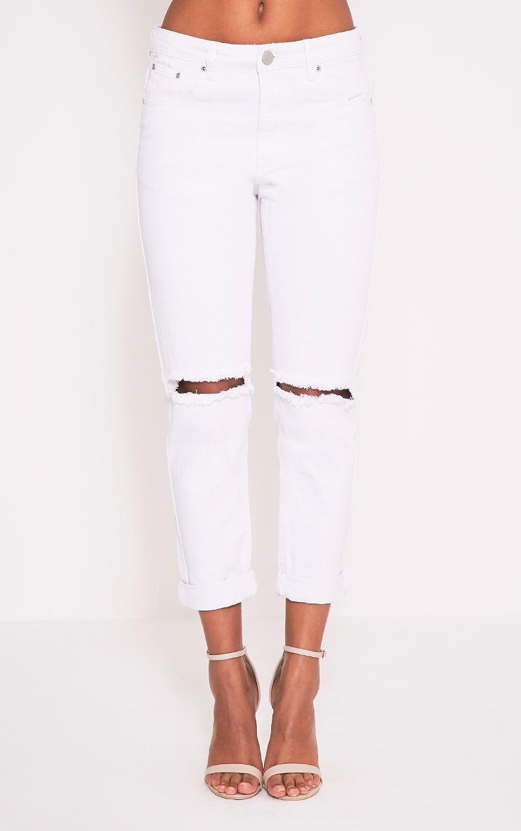White Knee Rip Boyfriend Jean 2