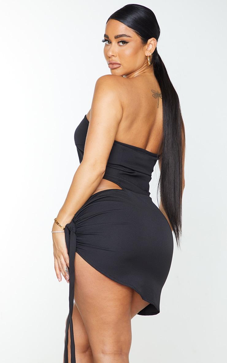 Shape Black Woven Corset Detail Tie Side Bodycon Dress 2