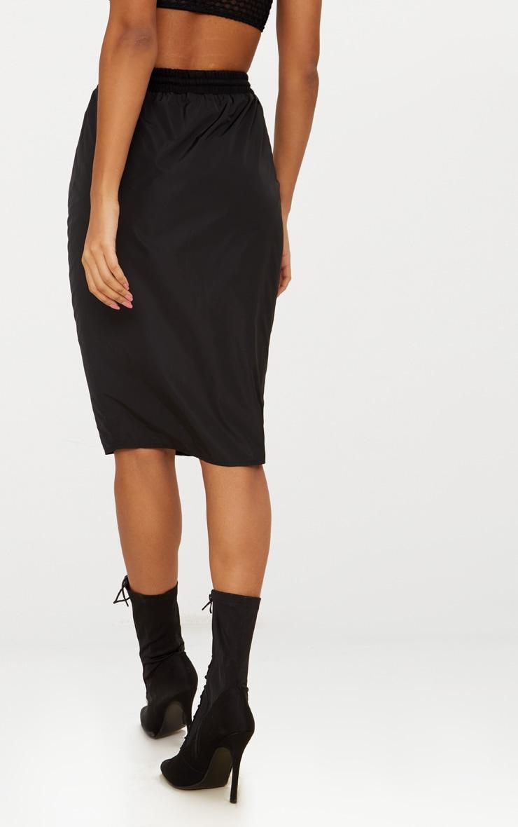 Black Shell Drawstring Midi Skirt  4