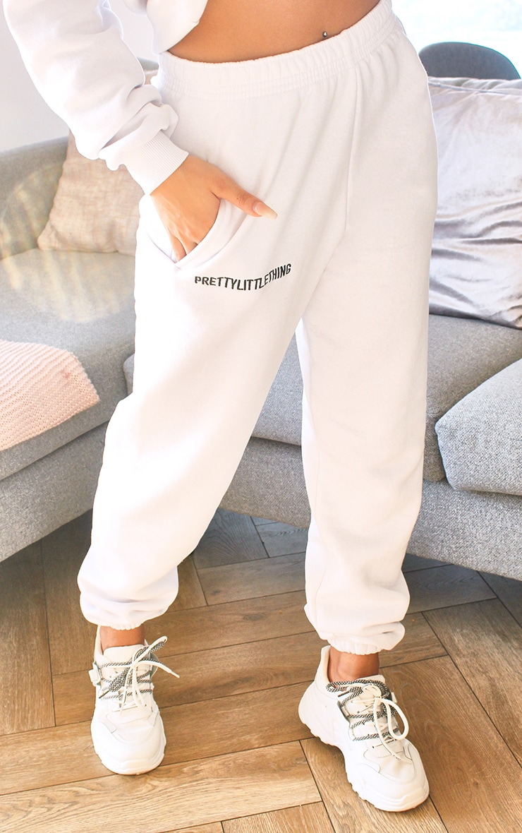 PRETTYLITTLETHING White Embroidered Slogan Joggers 2