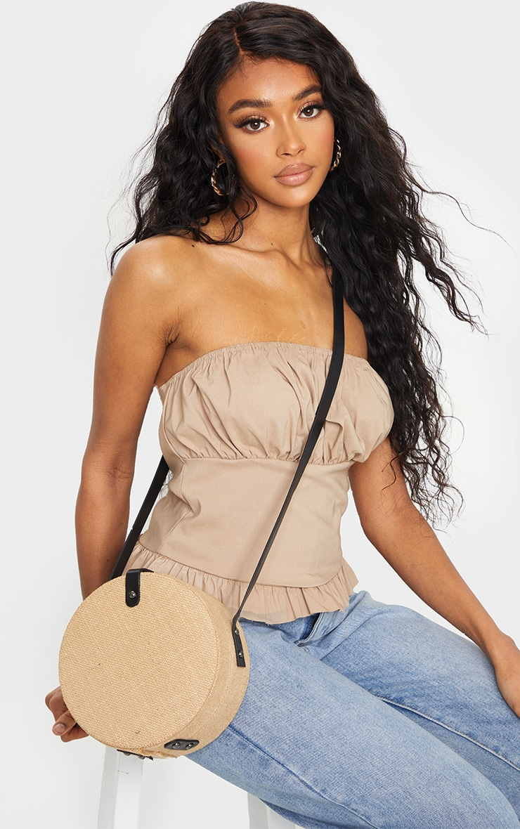 Natural Straw Round Cross Body Bag 1