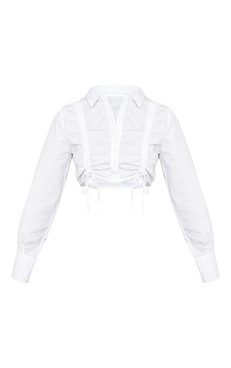White Woven Ruched Detail Cropped Long Sleeve Shirt 5