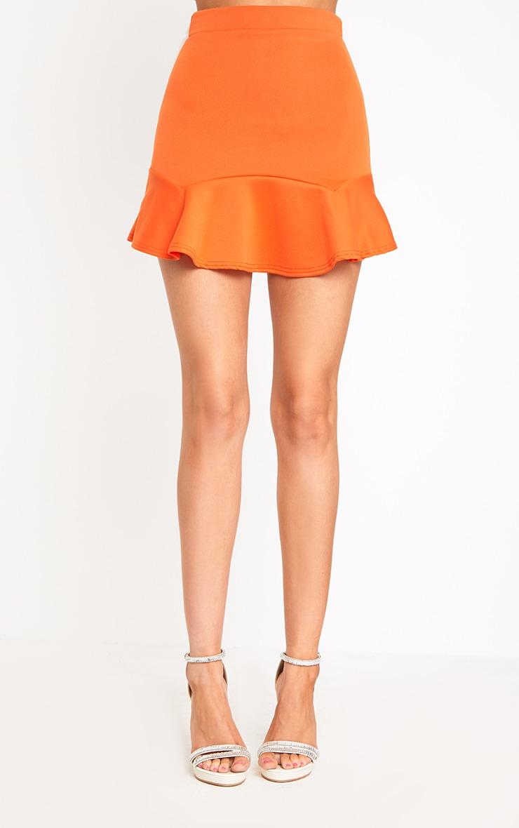 Bright Orange Flippy Hem Mini Skirt 2
