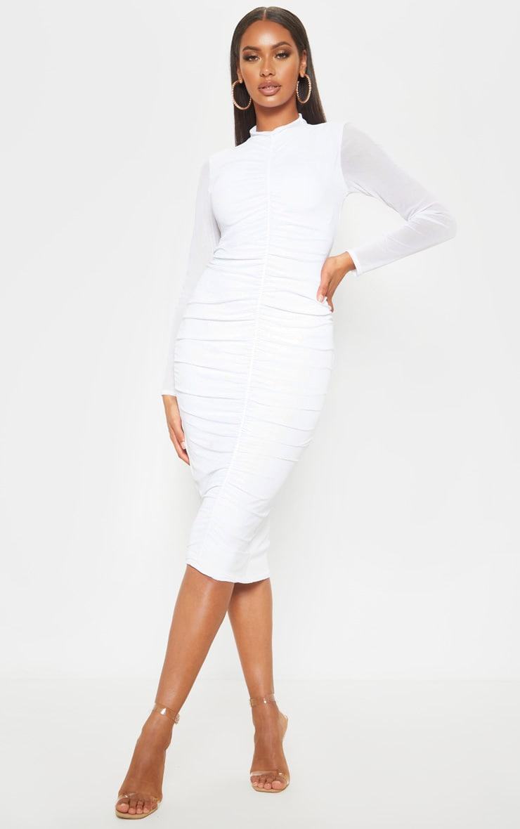 White Mesh Ruched Midi Dress 1
