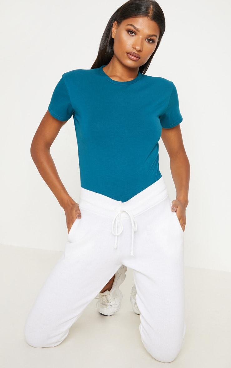 Teal Cotton Stretch T Shirt Thong Bodysuit 5
