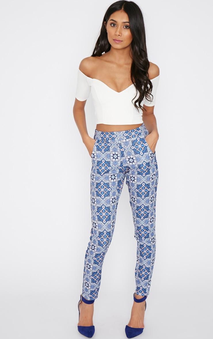 Tora Blue Paisley Trouser  5