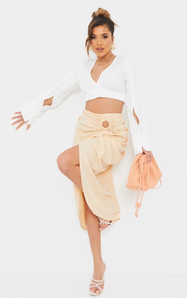 Nude Woven O Ring Cut Out Drape Midi Skirt 1