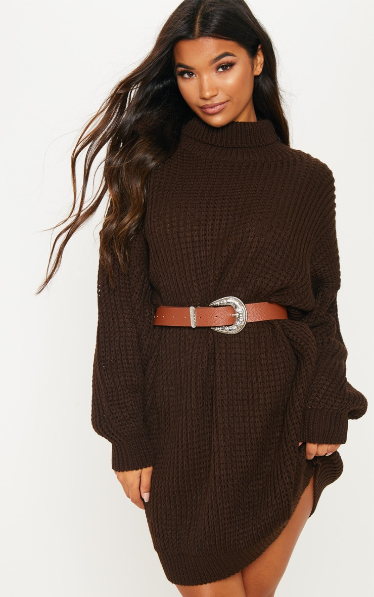 Brown Oversized High Neck Knitted Jumper Dress  3