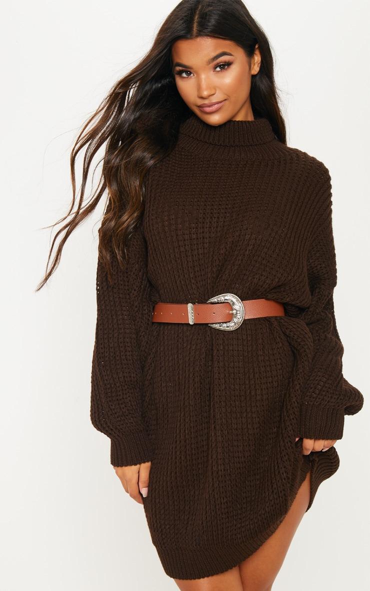 Brown Oversized High Neck Knitted Jumper Dress  3