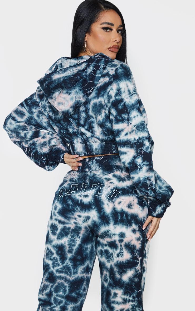 Shape Blue Tie Dye Malibu Embroidered Cropped Hoodie 2