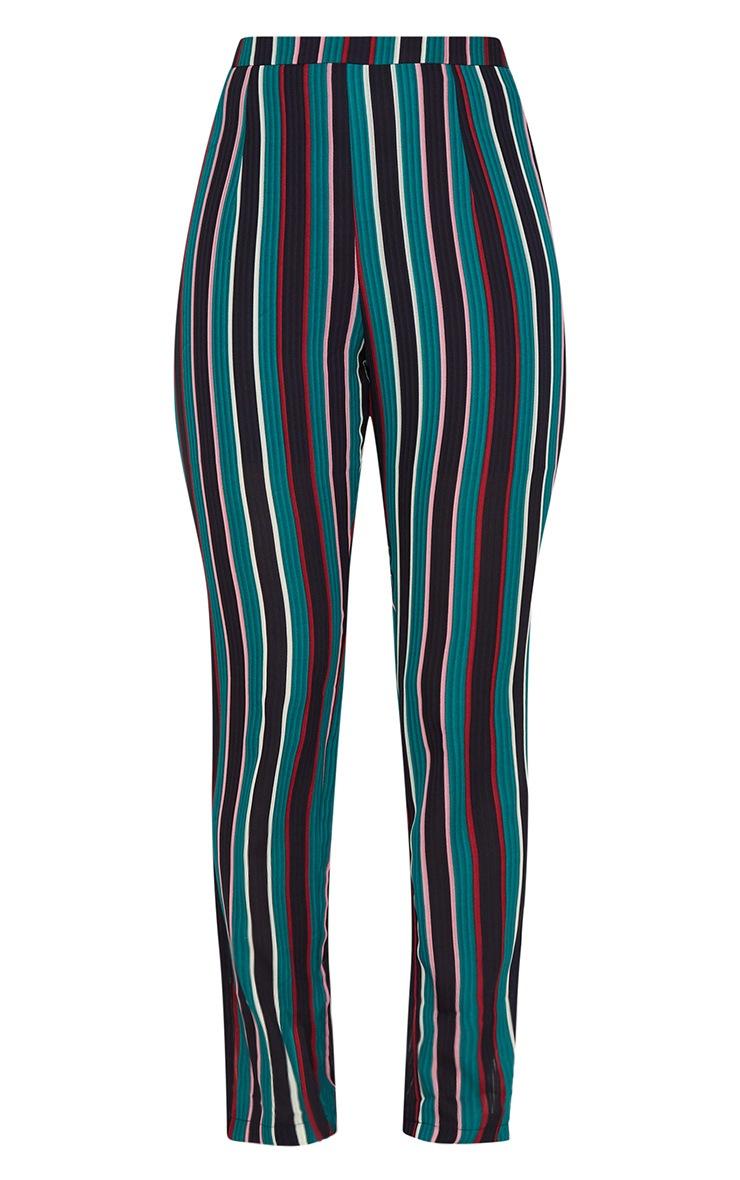 Teal Stripe Woven Straight Leg Trousers 3