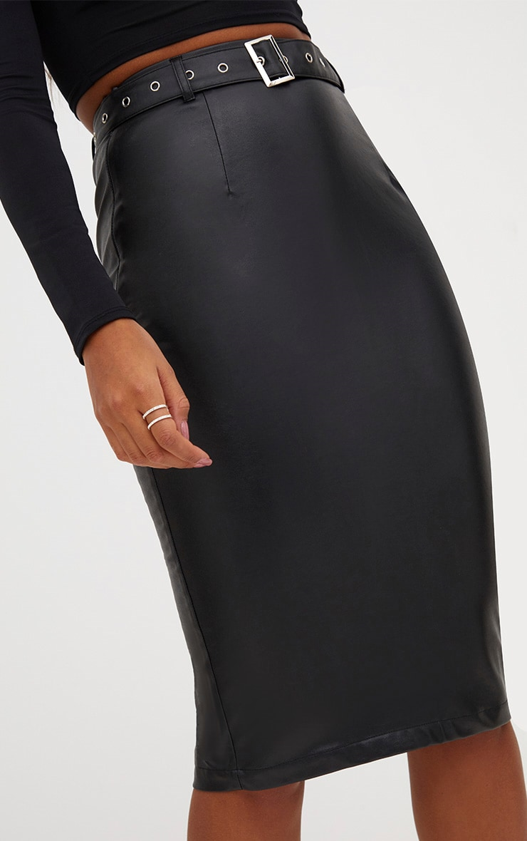Black Faux Leather Belted Midi Skirt 4