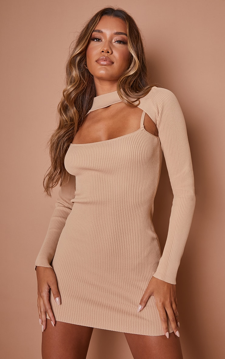 Stone Knitted Bodycon Dress With Sleeves 1