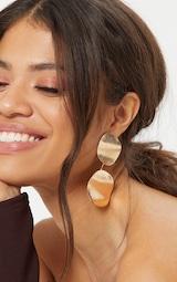 Gold Wavy Double Disc Drop Earrings 1