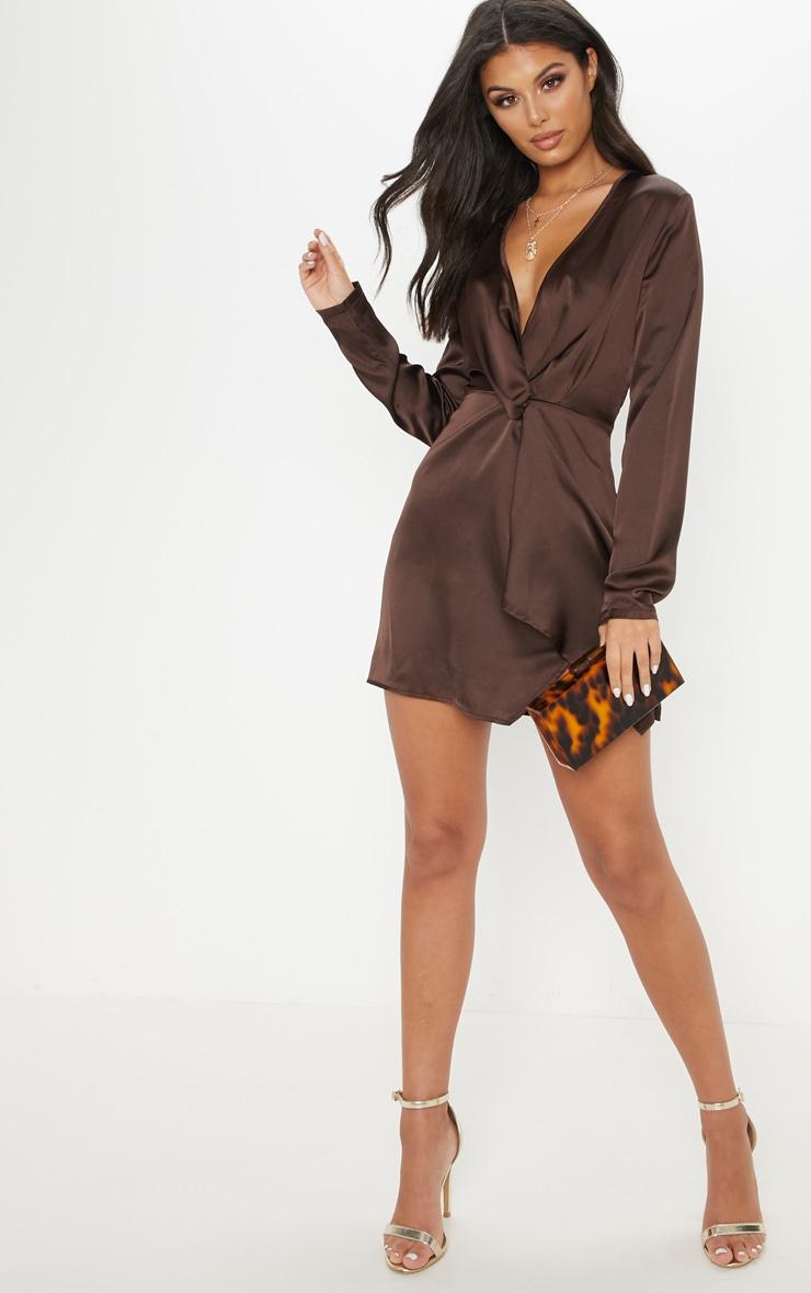 Chocolate Satin Long Sleeve Wrap Shift Dress 3