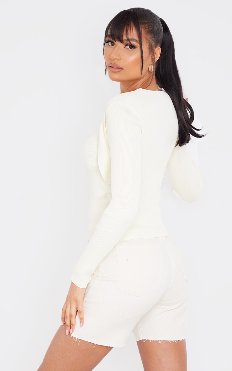 Cream Ribbed Knitted Long Sleeve Top 2