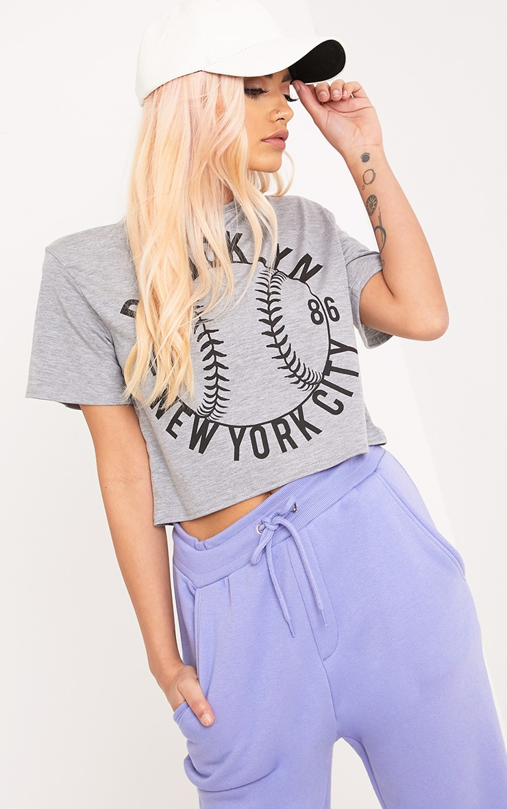 Baseball Grey Slogan Crop Top 1