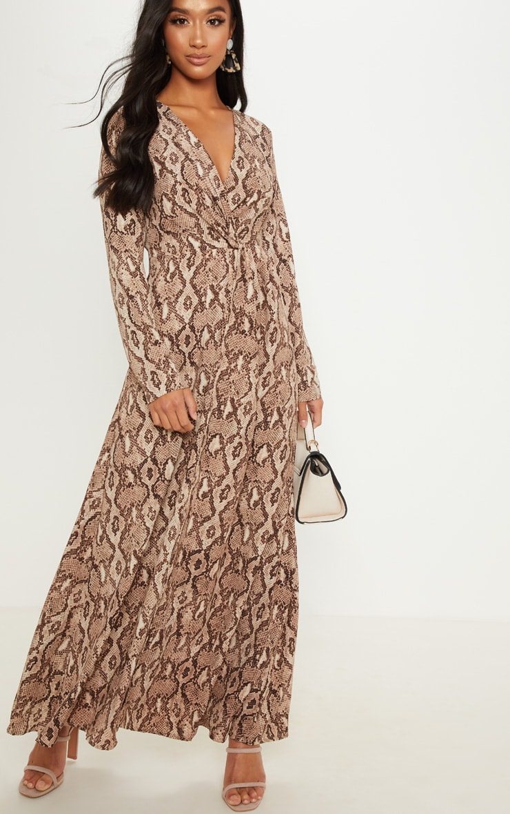 Petite Taupe Snake Print Twist Front Maxi Dress 4