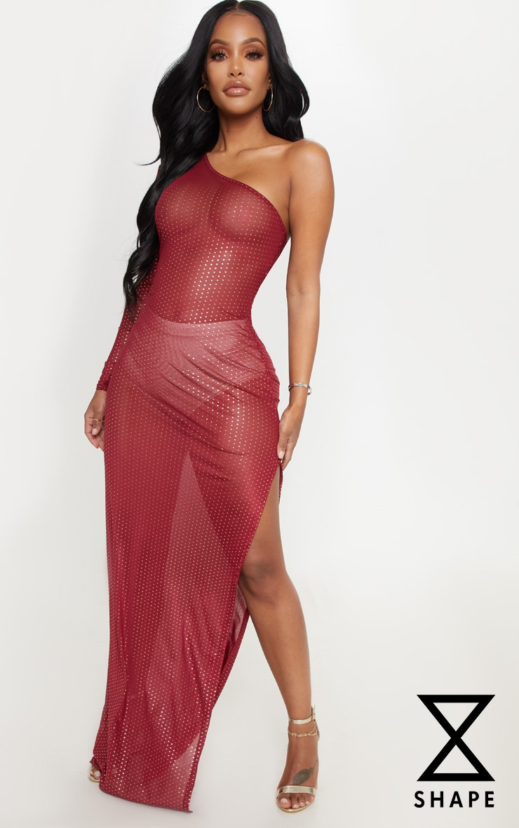 Shape Burgundy Polka Dot Mesh One Shoulder Maxi Dress