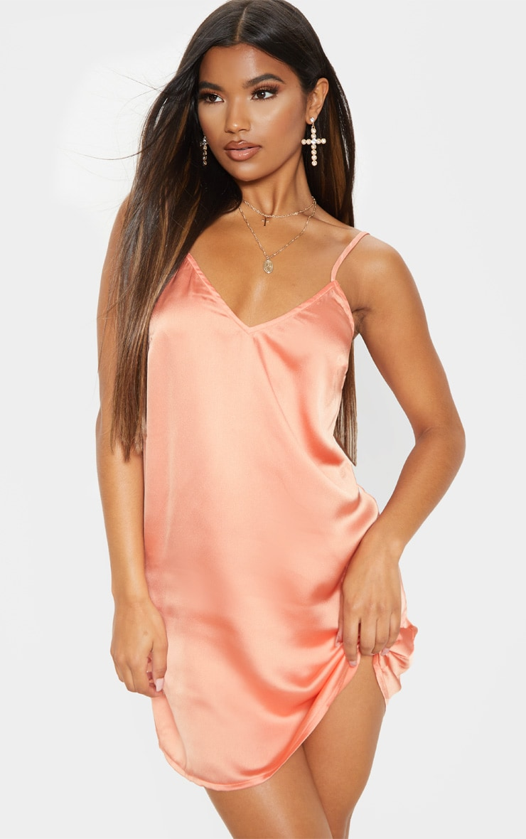 Peach Satin Slip Dress 1