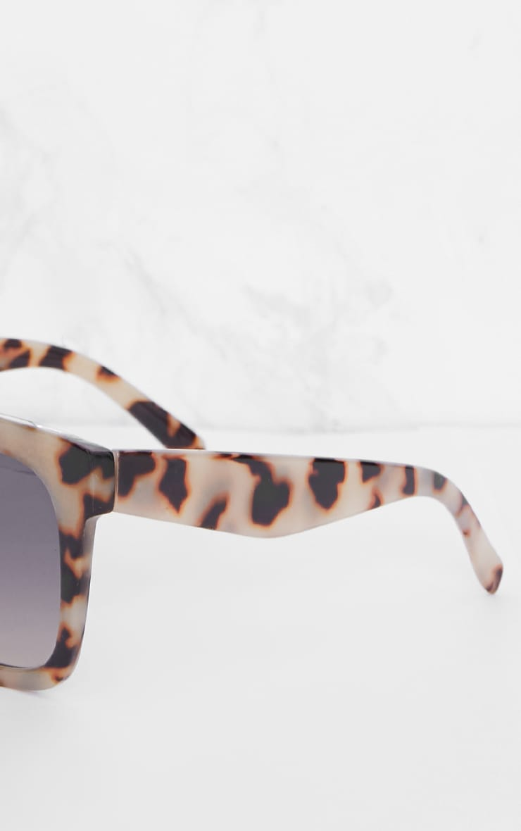 Leopard Print Wide Frame Square Sunglasses 4