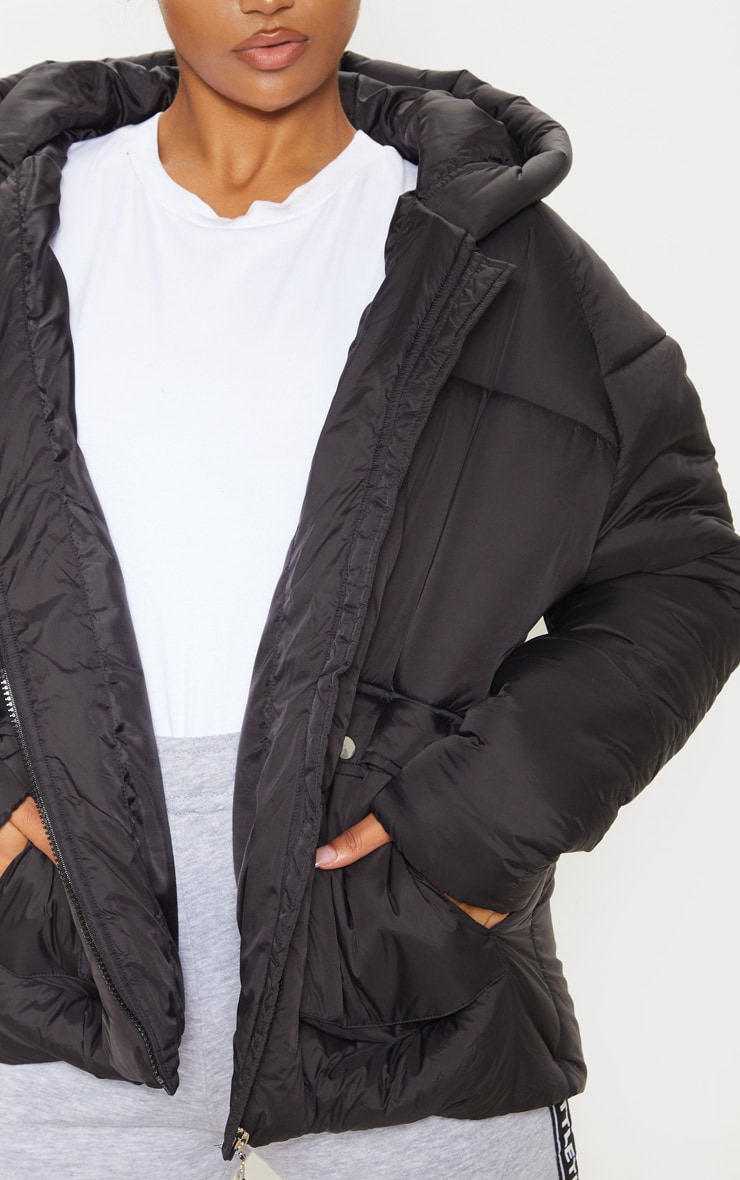 Black Pocket Front Hooded Puffer 5