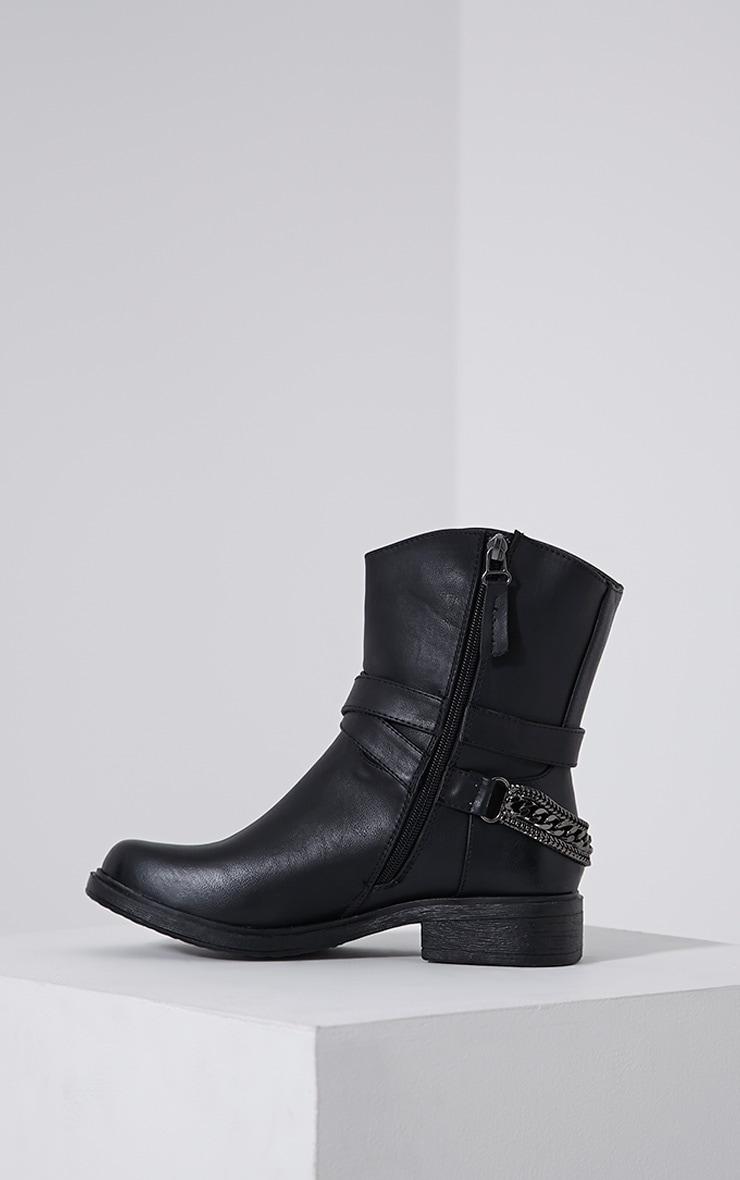 Caris Black Metal Chain Heel Boots 4