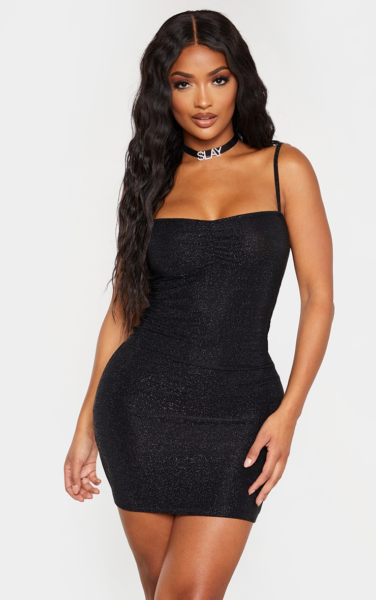 Shape Black Glitter Skinny Strap Ruched Bust Bodycon Dress 1