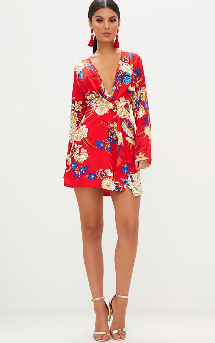 Red Floral Long Sleeve Wrap Dress 4