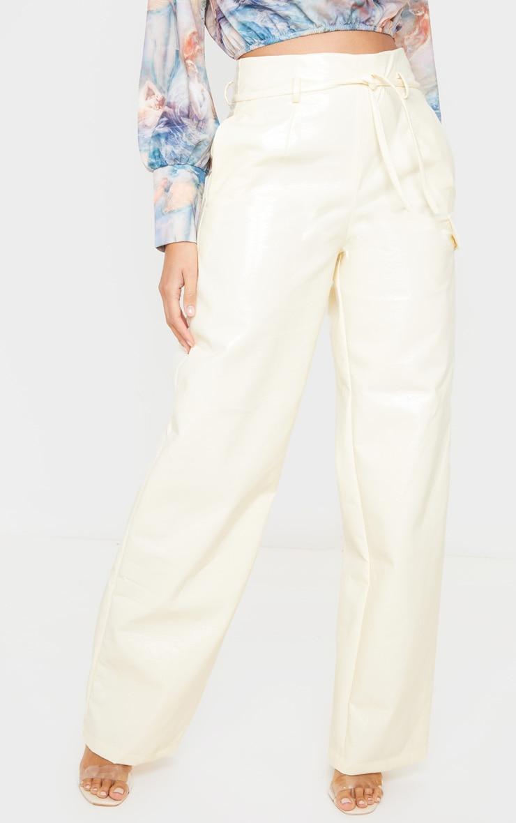 Ecru Cracked Faux Leather Pocket Detail Wide Leg Pants 2