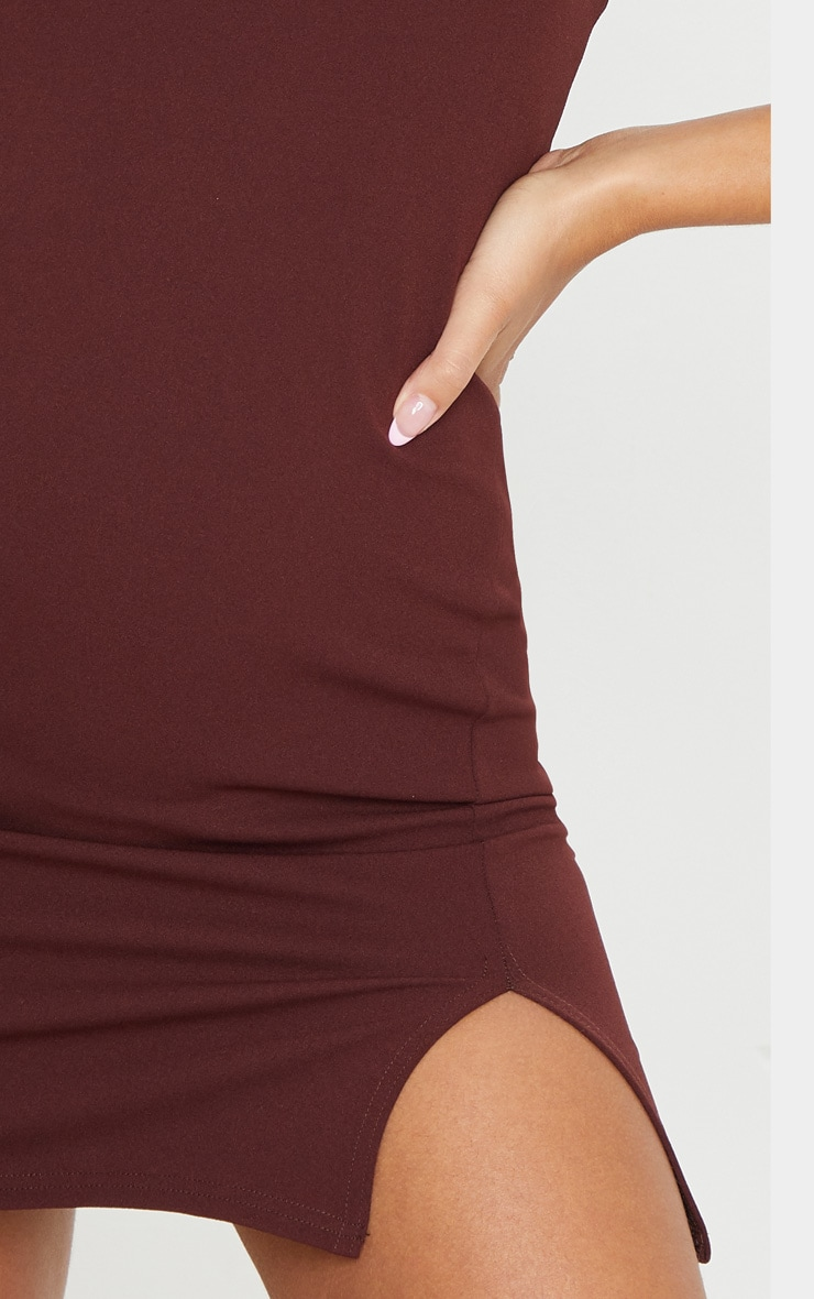 Chocolate 2 In 1 Strappy Split Front Shift Dress 5