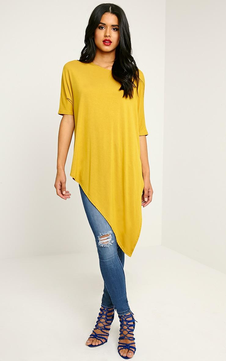 Basic Mustard Asymmetric T-Shirt 4