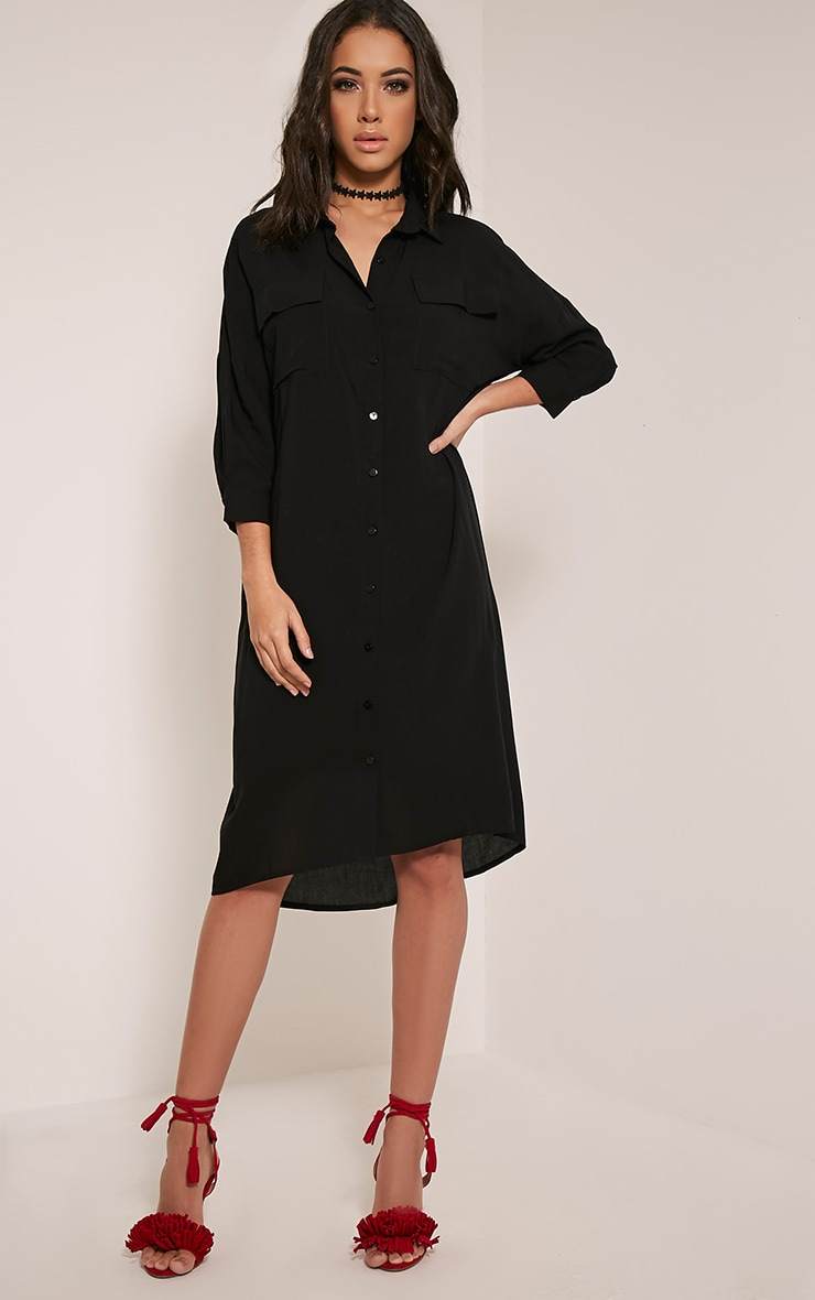 Perrin Black Longline Shirt Dress 5
