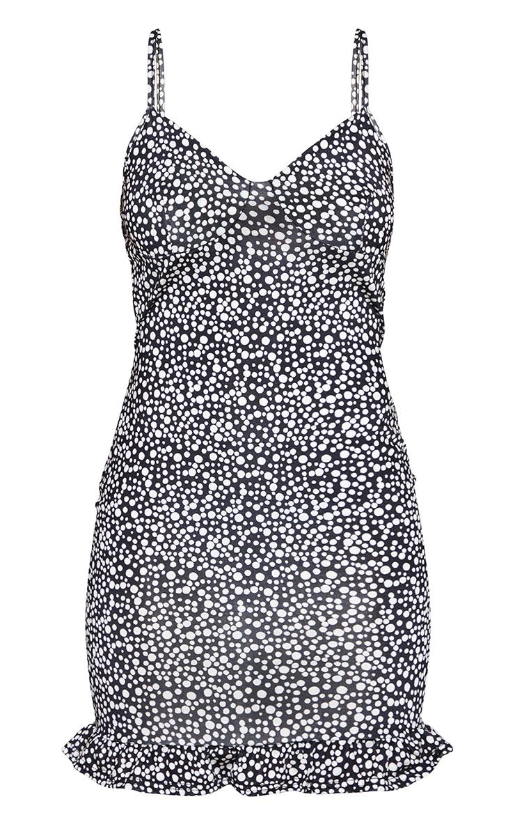 Petite Black Dalmatian Print Strappy Cup Detail Frill Hem Shift Dress 5