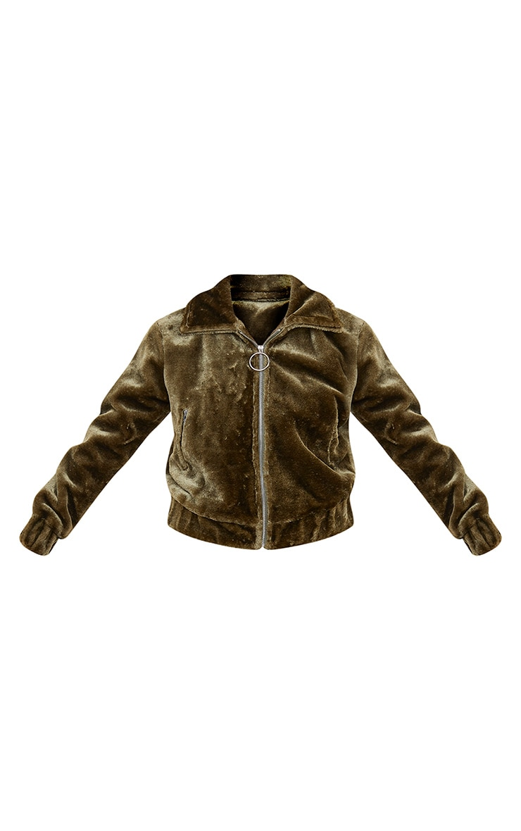 Khaki Faux Fur Zip Detail Jacket 5