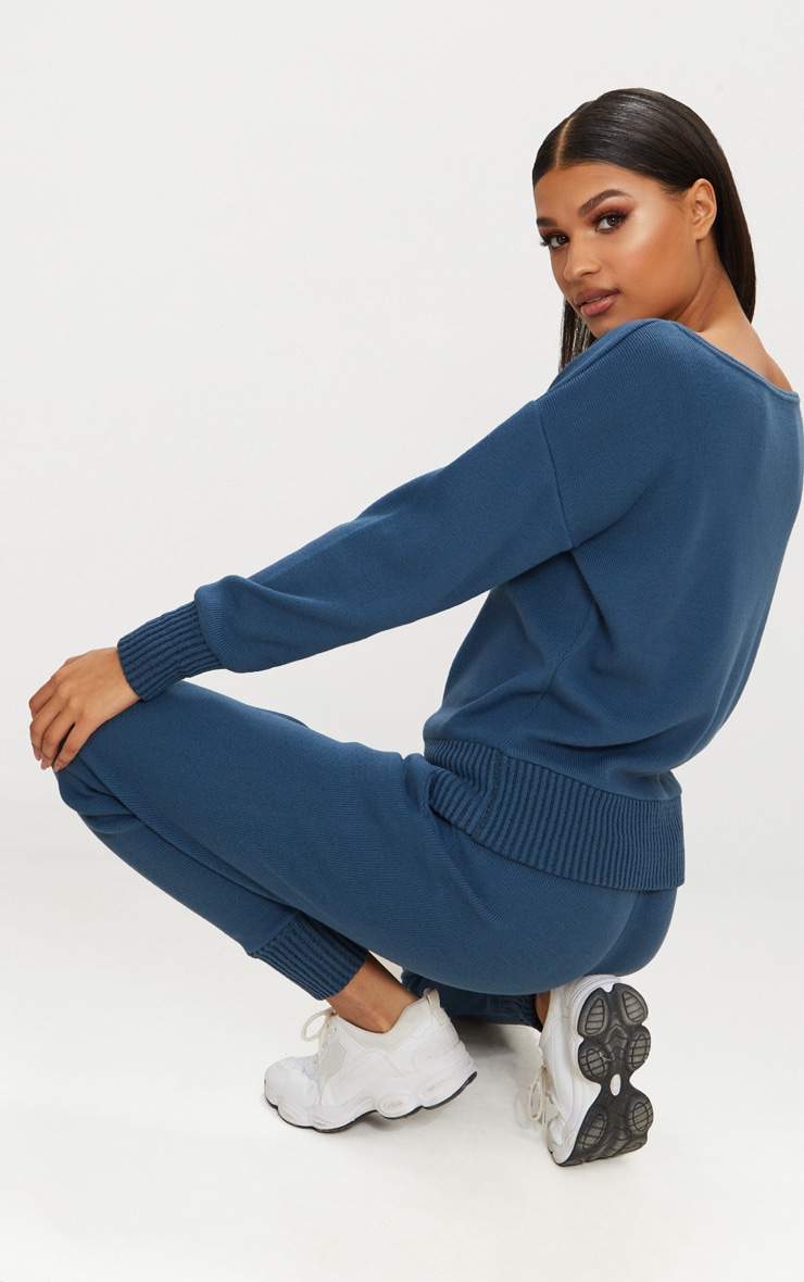 Charcoal Blue Jogger Knitted Lounge Set 2