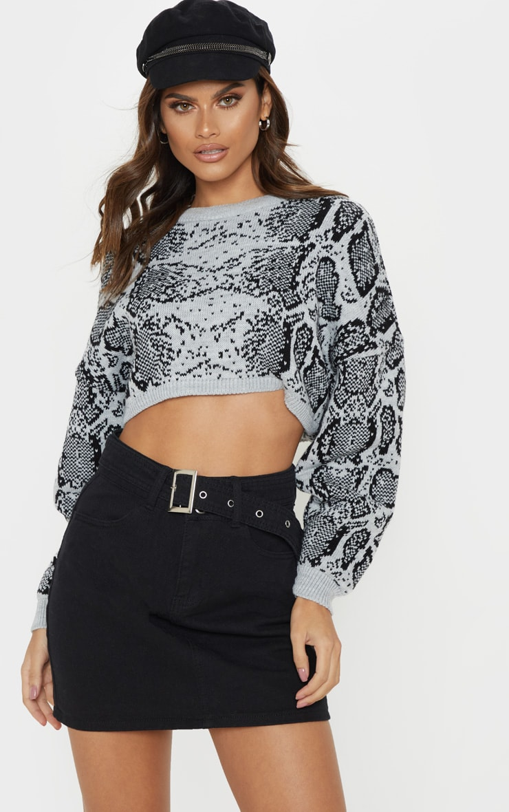 Grey Snake Print Knitted Cropped Jumper  1