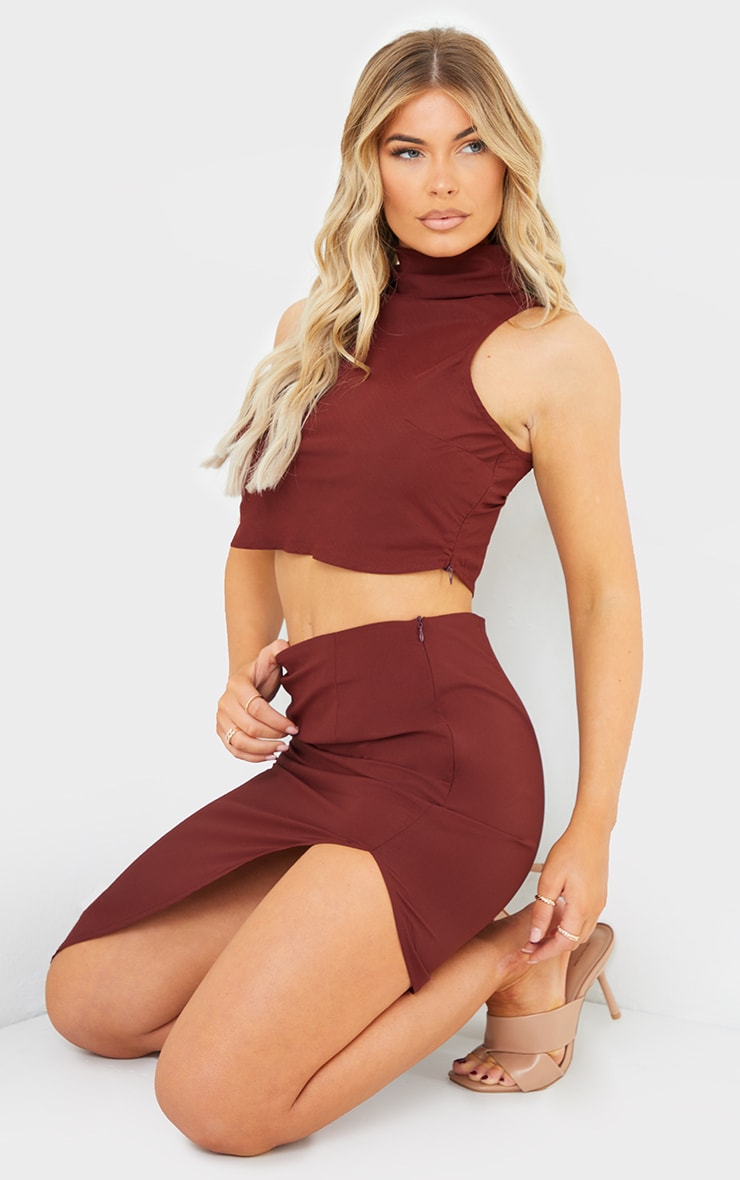 Chocolate Brown Woven High Neck Sleeveless Racer Crop Top 3